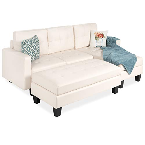 Best Choice Products Tufted Faux Leather 3-Seat L-Shape Sectional Sofa Couch Set w/Chaise Lounge,...