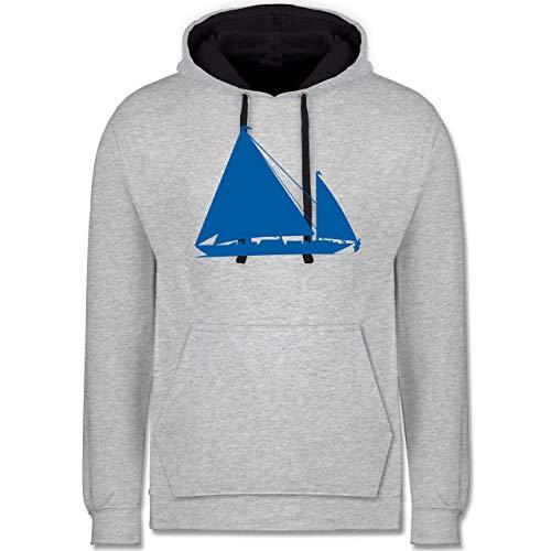 Shirtracer Schiffe - Segelboot - 4XL - Grau meliert/Navy Blau - Silhouette - JH003 - Hoodie zweifarbig und Kapuzenpullover für Herren und Damen