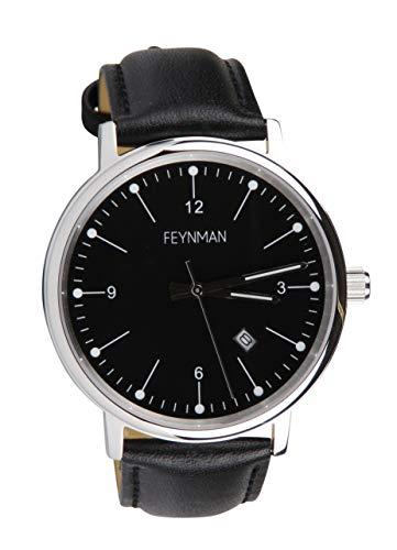 Feynman CW II Hochwertige Herrenuhr für Freizeit | Minimalistische Dresswatch für Business | Armbanduhr mit kratzfestem Saphirglas | Uhr mit Echt-Leder Armband & Datumsanzeige | Ø40mm