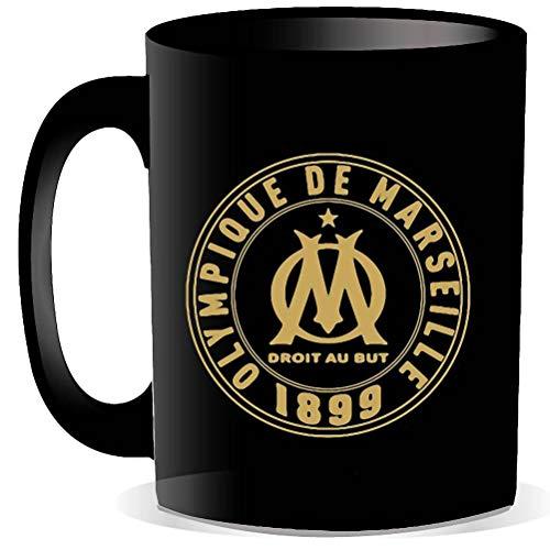 La Plume Dorée - Mug Olympique de Marseille Noir, Inscriptions Dorées, Une Ville Un Club Une légende