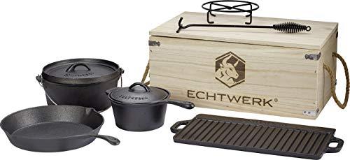 Echtwerk 7-teiliges Dutch Oven Set aus Gusseisen in Holzkiste, Kochtopf-Set aus verschiedenen Größen mit Kochtopf, Stieltopf, Grillplatte, Pfanne, Deckelheber und Untersetzer zum Kochen und Braten