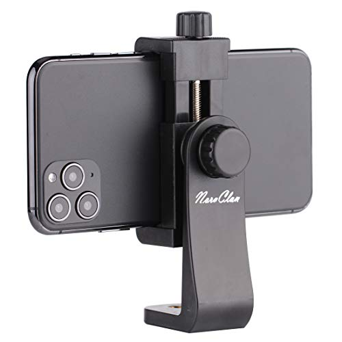 Phone Holder Smartphone Holder Clip Mount Phone Holder 360 Degree Rotation Mount Holder with Adjustable Clamp - Used on Tripod / Selfie Stick for Photography - Black