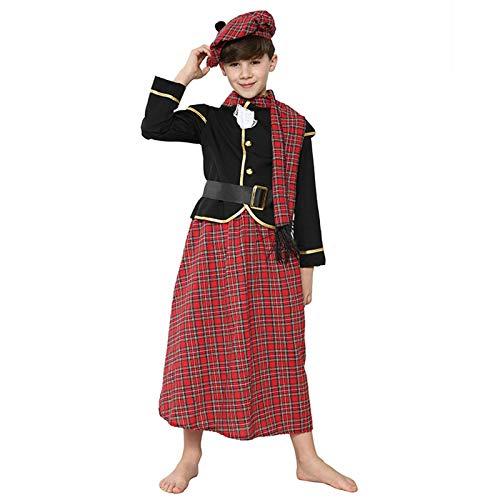 MEILILI Espectculo de Juegos de Halloween para nios Escoceses, Disfraz de Fiesta de Vacaciones(Size:S)