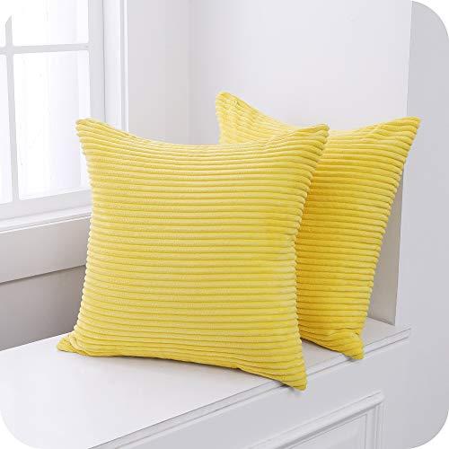 Umi Amazon Brand 2 Stück Kordsamt Kissen Einfarbig Kissenbezüge Dekorative Kissenhülle Kopfkissen Sitzkissen Dekokissen Couchkisen für Sofa 40x40 cm Leuchtend Gelb