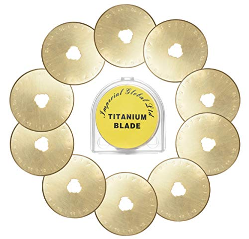 Imperial Global 45mm Replacement SKS-7 Titanium Coated Rotary Cutter Blades, 10-Pack