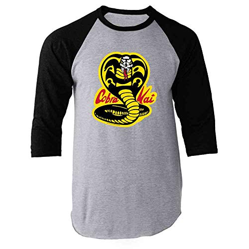 Cobra Kai Costume The Karate Kid Retro Martial Art Black M Raglan Baseball Tee Shirt