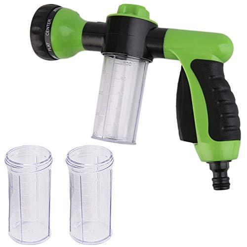 TRIXES Accesorio para Manguera de Jardín con Depósito de 100 ml 3 Piezas - Boquilla de Pistola Pulverizadora de 8 Modos - para Jabón Fertilizante Alimentación de Plantas o Limpieza de Automóviles