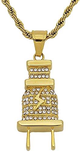 NC134 Hip Hop Iced out Bling Collares con Colgante de Enchufe eléctrico Collar de Acero Inoxidable de Color Dorado Masculino para Mujeres Hombres Joyería Hiphop