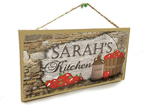 Blackwater Trading Personalized Country Apples Cider Your Names Kitchen 5'x10' Sign Plaque