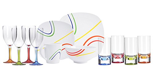Melamin-Geschirr Color Line Weiss eckig16 TLG für 4 Personen + 4 Weingläser u. 4 Tumbler/Wassergläser aus Acryl Camping-Geschirr Tafel-Service Picknik Trekking Outdoor (4 Pers. / 24-teilig)