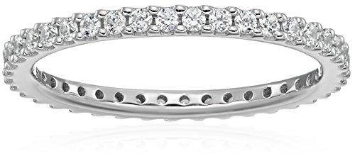 Platinum-Plated Sterling Silver All-Around Band Ring set with Round Swarovski Zirconia (1/2 cttw), Size 7