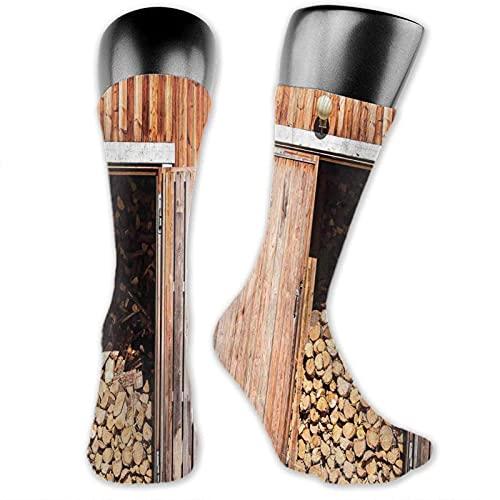 XCNGG Socken Kompression Medium Kalb Crew Socke, rustikale Scheune mit Brennholz Landschaft Village Effekt Lagerung Garten ländliches Leben Konzept