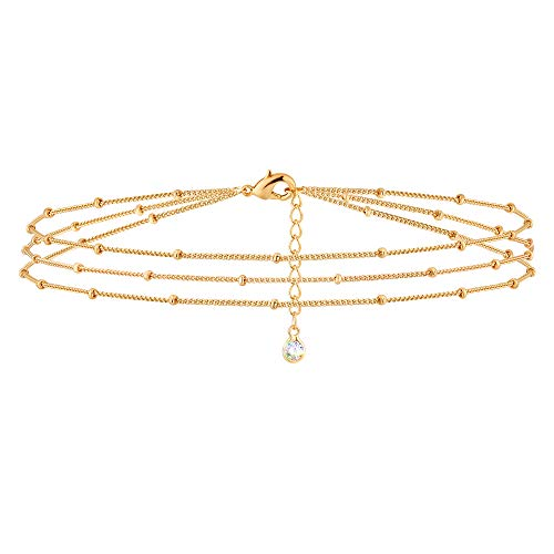 MEVECCO Gold Layered Dainty Bead Chain Bracelet for Women,14K Gold Plated Cute Tiny Three Layered Satellite Chain Bracelet for Women…
