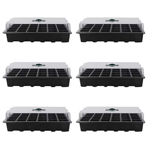 Doitool 6 Juegos de Bandeja de Inicio de Semillas con Cúpula de Orificios de Drenaje 24 Bandejas de Plantas de Semillas Bandejas de Germinación de Semillas Reutilizables Caja Propagadora