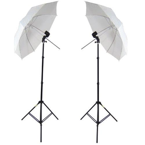 DynaSun 2X W963S Kit Set da Studio Professionale, Supporto Cavalletto Stativo, Portalampada e Ombrello Diffusore Bianco per Illuminatore Luci Flash