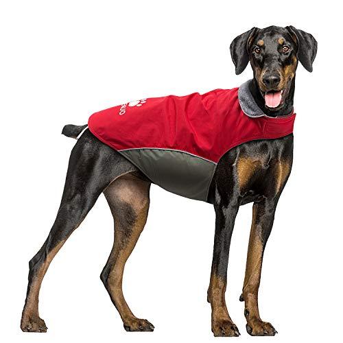 IREENUO Hundemantel Wasserdicht, Hundejacke Winter Winddichte Warme Hunderegenmantel für mittel Grosse große Hunde mit Sicheren Reflexstreifen und Verstellbarer Brust Rot-XL