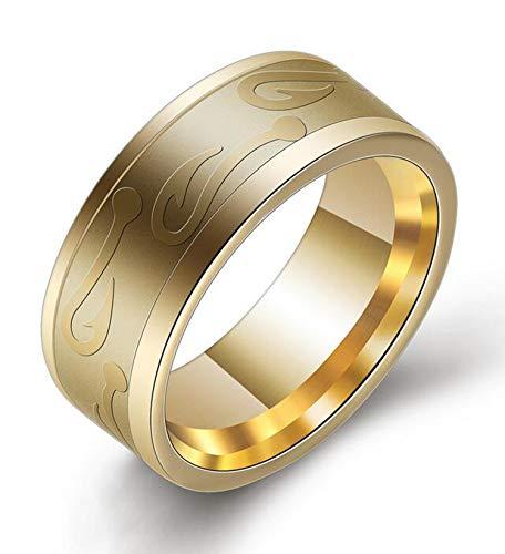 TITANSTEN 8mm Stainless Steel Fish Hook Ring Fishing Wedding Band (Gold, 9)