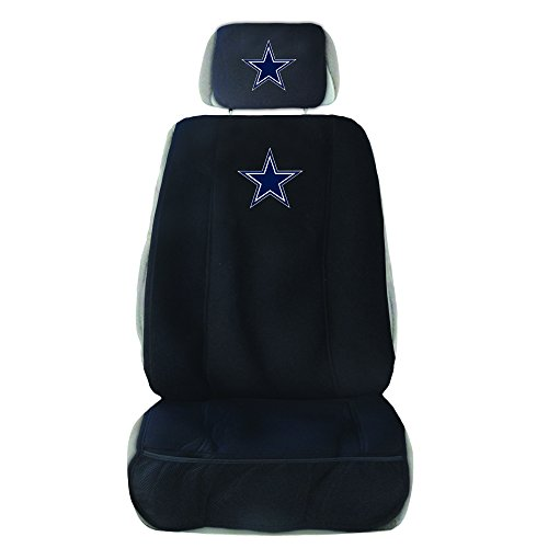 Fremont Die NFL Dallas Cowboys Seat Cover with Head Rest Cover, Black, One Size