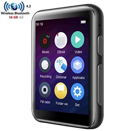 CCHKFEI 16 GB MP3-Player Bluetooth mit 2,4 Zoll Full Touch Screen HiFi verlustfreier Metall Musik-Player Bluetooth eingebauter Lautsprecher unterstützt FM Radio/Voice Recorder