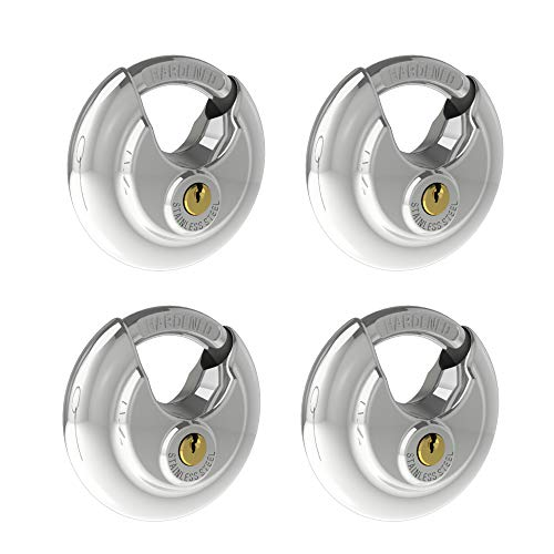 CINCINNO 4 Pack Keyed Alike Padlocks, 304 Stainless Steel Discus Lock ,2-3/4 in.Wide ,3/8 in. Diameter Shackle, Disc Lock for Storage Unit, Sheds, Garages and Fence