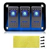 CT-CARID - Panel de interruptores de 3 interruptores universales de aluminio de 12 V, 5 pines, encendido/apagado, 2 LED retroiluminados