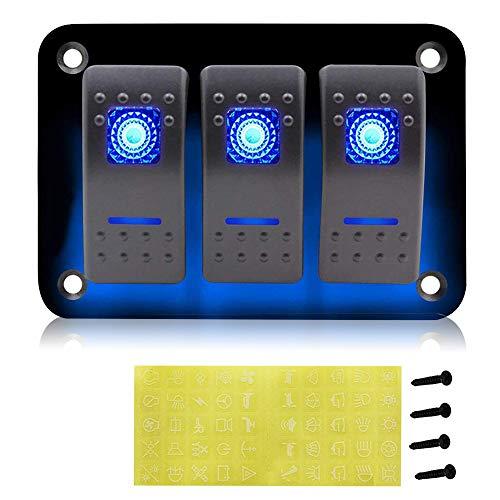 impermeable CT-CARID marina veh/ículos para coche caravana cami/ón Panel de interruptores de 12 V con 6 interruptores con luz LED barco