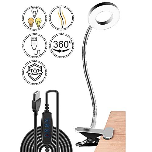 LED-Leselampe, Augenpflege Leselampe Klemmleuchte Schwanenhals Klemmlampe, LED Clip Schreibtisch Licht dimmbare 3Modi&10 Dimmstufen flexibles Klemmlicht USB Wiederaufladbare leselampe bett(Silber)