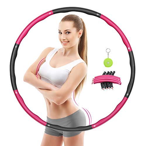 Awroutdoor Hula Hoop Fitness Desmontable, Professional Hula Hoop Adultos Fitness 1,2kg para Adelgazar, Ancho Ajustable (19-37in),Aro de Fitness con Cinta Métrica