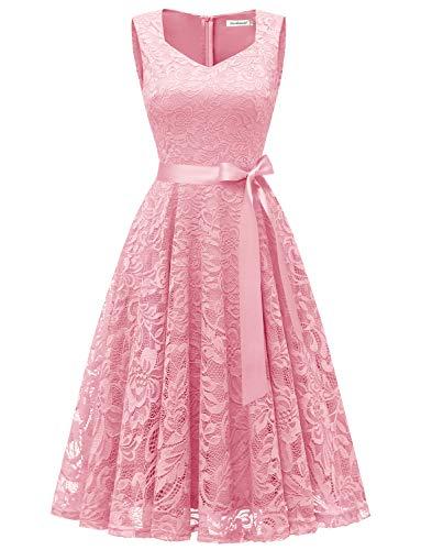 Gardenwed Damen Elegant Spitzenkleid Strech Herzform Abendkleid Cocktailkleider Partykleider Pink XL