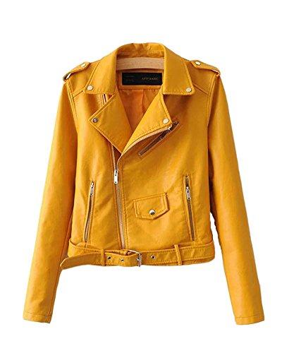 SaiDeng Donna Punk Stile Giacca Moto Corto in Pelle Pu Cappotto Cerniera Jacket Giallo M