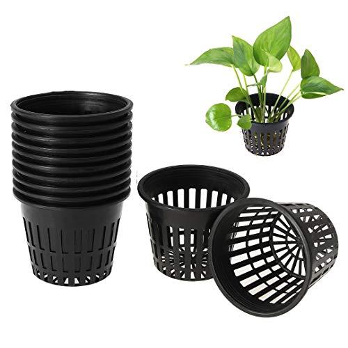 UIEEGPG 10pcs Planting Baskets 3.1 inch Plastic Mesh Pot Plant Grow Cup for Garden Hydroponic Planting (Black)