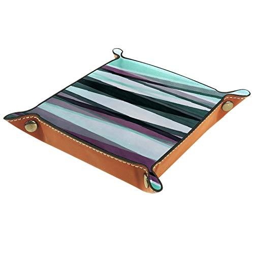 FCZ Bandeja organizadora de escritorio con diseño de rayas color burdeos y grises, color aguamarina