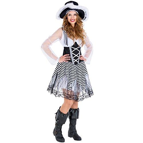 TecTake dressforfun Disfraz de Novia Pirata para Mujer | Vestido Corto con Lazada Cosida en la Parte Delantera | Sombrero Pirata y calzas para Botas de imitación Piel (XL | no. 300694)
