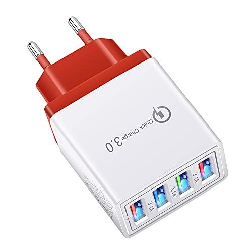 Cargador de enchufe USB, 4 puertos 5V/3A cargador de pared Adaptador de corriente QC 3.0 Smart Device-Adaptive Fast Charging Technology y múltiples enchufes de carga para teléfono XS, iPad,Samsung
