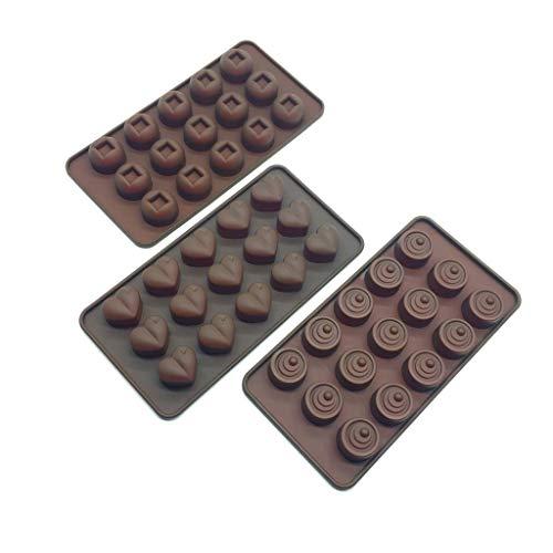 HelpCuisine® 3er Packung Silikonformen Eiswürfelschale als Herzen, Wirbelwind und Würfel in Braun, BPA-frei und FDA-zugelassen.