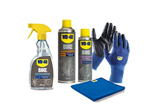 WD-40 Kit per la Manutenzione della Bici con 1 x Detergente 500 ml, 1 x Sgrassante 500 ml, 1 x Lubrificante Catena Tutte le Condizioni 250 ml, 1 x Guanti di Precisione, 1 x Panno in Microfibra