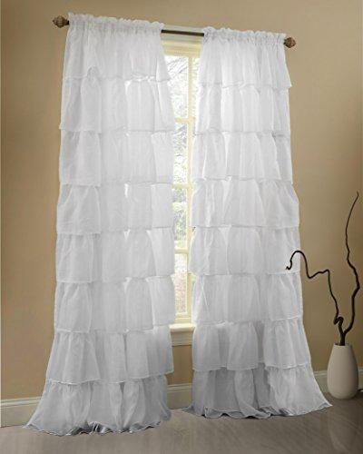 Gee Di Moda White Ruffle Curtains Gypsy Lace Curtains for Bedroom Curtains for Living Room - White 60x63 inch Ruffled Curtains for Kids Room Shabby Chic Curtain for Nursery Kids Curtains for Girls