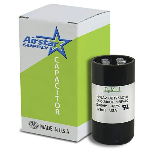 200-240 uF x 110 125 VAC - Dayton Grainger 6FLK3 Start Capacitor - BMI Replacement # 092A200B125AC1A - Made in The USA