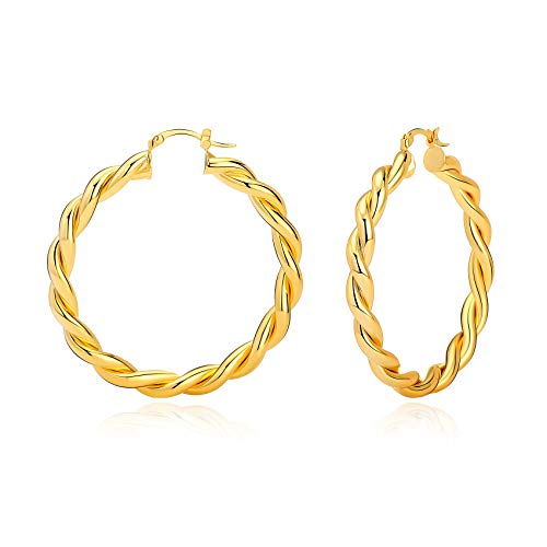 Twisted Gold Hoop Earrings 14K Gold Plated Round Knot Earring Lightweight Jewelry for Women Girls