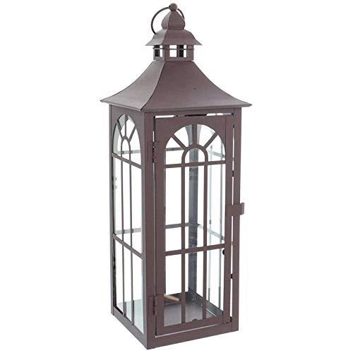 SIDCO Laterne Metall Gartenlaterne groß Windlicht Kerzenhalter Landhaus Shabby 45 cm