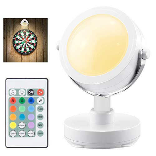 LUXSWAY Battery Operated Accent Lights| Wireless SpotLights Indoor with 360° Rotate Head| 12 Color Changing Remote Up/Down Light| Dim Picture Lights| Puck Light Stick on Light for Dart Board