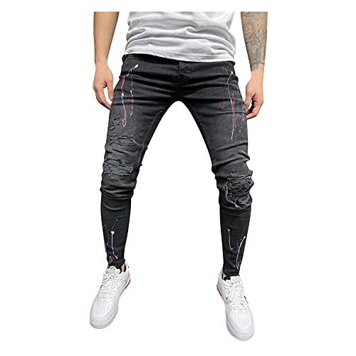 Mens Skinny Slim Fit Distressed Jeans Stretch Tapered Leg Denim Pants Denim Hole Sports Full Length Pants (Black, L)