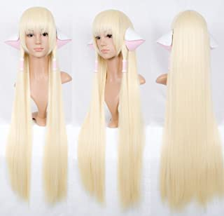 Weeck Anime Long Chobits Chii Straight Blonde Cosplay Wigs