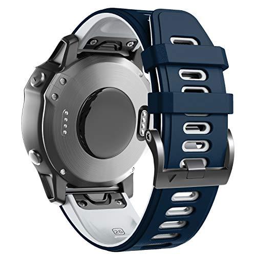 ANBEST Cinturino in Silicone Compatibile con Fenix 6X/Fenix 5X/Fenix 6X Pro/5X Plus, Cinturino Sportivo vestibilità Rapida per Fenix 3/Fenix 3 HR/D2 Charlie/Tactix Delta, Blu Scuro/Bianco