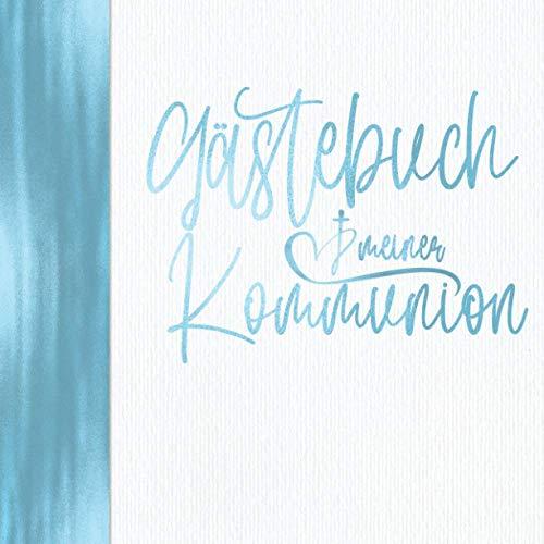 Gästebuch meiner Kommunion: Vintage Blau für Jungen I Elegant mit Kirche & Kreuz I Geschenkidee &...