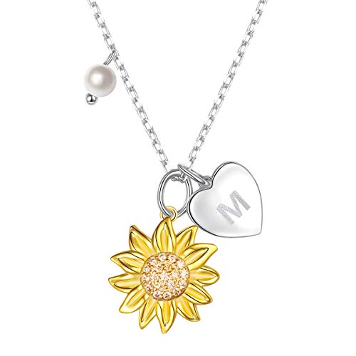Sterling Silver Gold Tone Sunflower Initial 26 Letter Script Name Alphabet A to Z Necklace Personalized Pendant (M)