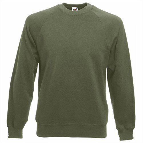 Fruit of the Loom - Raglan Sweatshirt, Felpa, unisex, classic olive, S