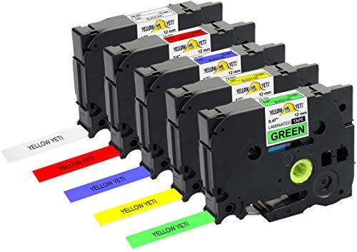 Yellow Yeti 5 Schriftbander TZe-231 TZe-431 TZe-531 TZe-631 TZe-731 12mm x 8m schwarz auf weiß rot blau gelb grün Etikettenbänd kompatibel für Brother P-Touch PT-1000 H100 D210VP D400 D600VP P700 CUBE