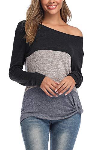 ANFTFH Design mit dreifachem Farbblock Tunika Top wist Knot Front Patchwork-Design Gray XL