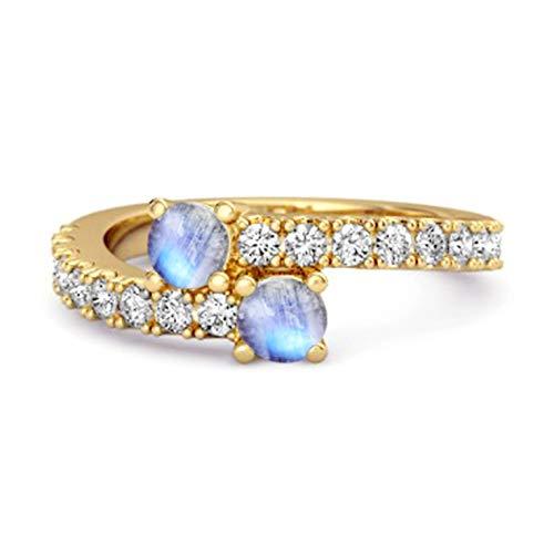 Shine Jewel Multi Elija su Piedra Preciosa 0.04 CTS Anillo único de vástago Dividido Chapado en Oro Amarillo de Plata de Ley 925 (13, Piedra de la Luna)
